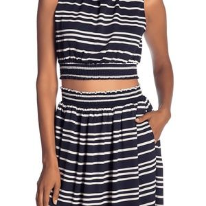Rachel Roy You Cropped Navy White Stripes Sz M
